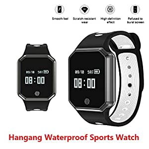 Hangang Smart Watch 0.95 Inch LED Metal Fashion Wristband IP67 waterproof Smart pedometer hands-free phone Support Blood Pressure Heart Rate Monitoring Detachable Watch for IOS /Android-(White)