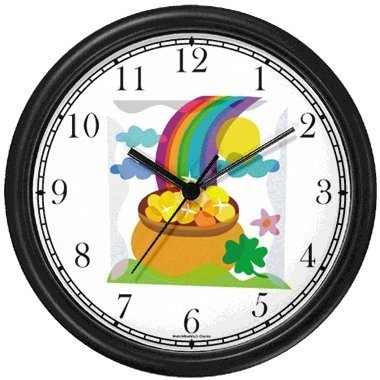 Pot of Gold, Four Leaf Clover, Shamrock, Rainbow Irish or Celtic Theme Wall Clock by WatchBuddy Timepieces (Hunter Green (Irish Themes)
