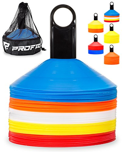 Pro Disc Cones (Set of 50) - Agility Soccer Cones with Carry Bag and Holder for Training, Football, Kids, Sports, Field Cone Markers - Includes Top 15 Drills eBook (Multi-Color) -