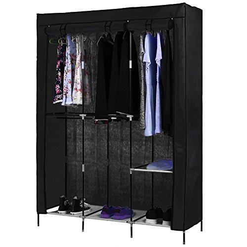 Kaluo Portable Clothes Closet Wardrobe with Canvas Cover Shelf Double Rod Large Capacity Closet Storage Organizer (Black)