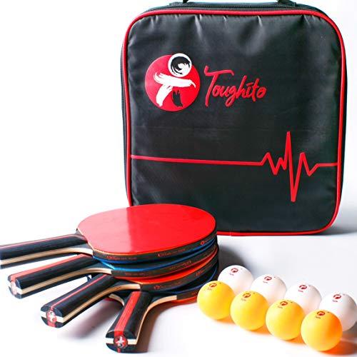 Toughito Ping Pong Paddle Set- Aero Black