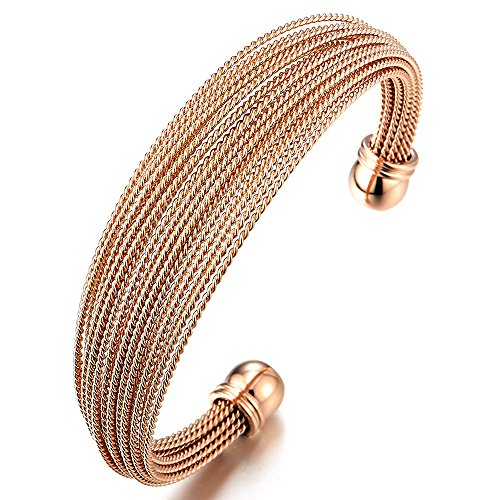 (COOLSTEELANDBEYOND Multi-Strand Womens Stainless Steel Rose Gold Adjustable Cuff Bangle Bracelet)