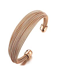Multi-Strand Womens Stainless Steel Rose Gold Adjustable Cuff Bangle Bracelet