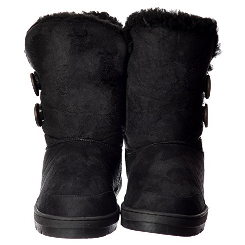 Onlineshoe Black Chestnut Double 2 Ankle Button Black Winter Boot Lined Women's Synthetic Grey Fur Brown Flat ZprqxnZ7