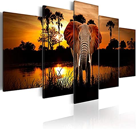 Large Size Animal Wall Art Paintings On Canvas Elephant Sunrise African Landscape Artwork Pictures For Living Room Decorations Posters Prints