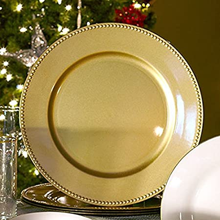 (Set of 12) 13 inch-Gold Charger Plates with Decorative Beaded Rim. The Perfect Finishing Touch for Holidays`Table Settings! Plates have Stylish Presentation Under Dinner Plates (12) USA_Holidays USA_Fall_Holidays