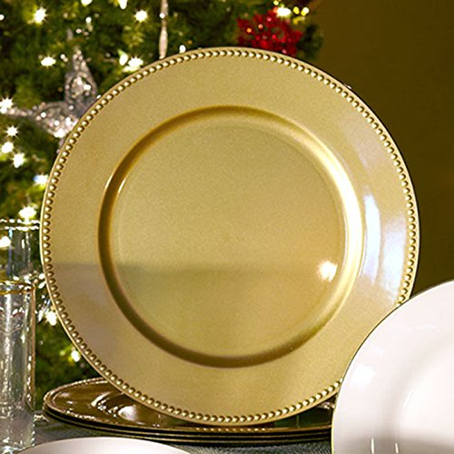 (Set of 12) 13 inch-Gold Charger Plates with Decorative Beaded Rim. The Perfect Finishing Touch for Holidays`Table Settings! Plates have Stylish Presentation Under Dinner Plates (12)