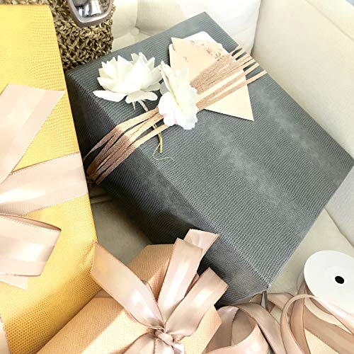 Gray Faux Leather Gift Wrap Paper for Large Presents, 5 Sheets Each 31 Inches by 43 Inches, Thick, Textured, Embossed Premium Paper for Gift Wrapping Corporate Gifts, Holiday Gifts, Christmas - Ostrich Faux Leather Skin