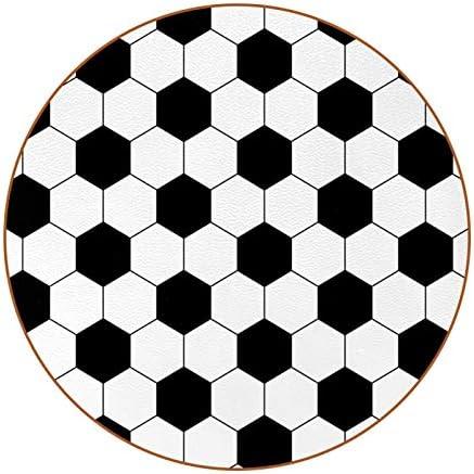 Redondo Portavasos Fútbol Posavasos de Cuero Juego de 6 Coaster para Vaso/Copa de Bebida/Copa de Vino Tinto/Copas/Vaso de Cerveza 11x11 cm