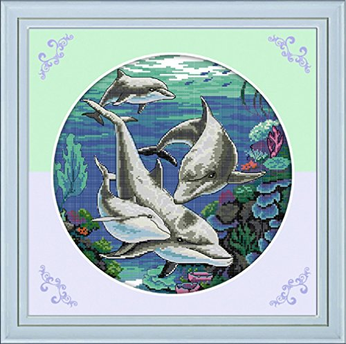 - YEESAM ART New Cross Stitch Kits Advanced Patterns for Beginners Kids Adults - Classical Dolphin 11 CT Stamped 45x45 cm - DIY Needlework Wedding Christmas Gifts