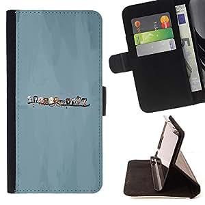 KingStore / Leather Etui en cuir / Sony Xperia Z3 D6603 / Pájaros lindos