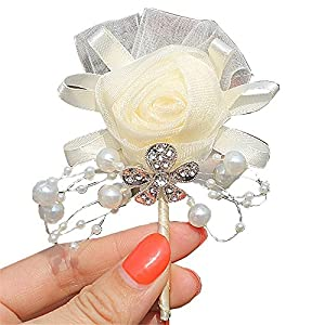 S_SSOY Boutonniere Bridegroom Groom Men's Boutonniere Groomsmen Boutineer Pin Corsage Flower for Wedding Homecoming Prom Suit Decor 96