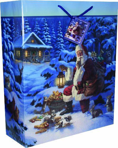 River's Edge Santa with Wildlife Design Gift Bag, X-Large, 16 x 19 x 6-Inch (Santa X-large)
