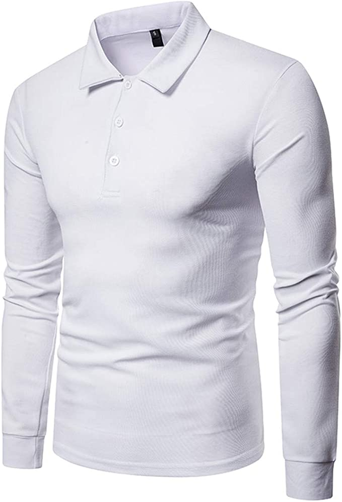 GRMO Men - Polo - Manga Larga - para Hombre Blanco Blanco M ...