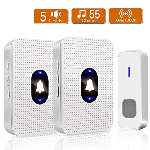 Wireless Doorbell IP55 Waterproof Door Bell, Yvelines Door Chimes with 2...
