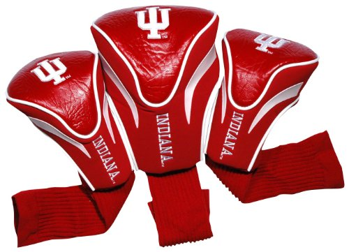 Team Golf NCAA Contour Golf Club Headcovers (3 Count), Numbered 1, 3, & X, Fits Oversized Drivers, Utility, Rescue & Fairway Clubs, Velour lined for Extra Club Protection - Indiana Hoosiers Golf Headcover
