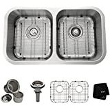 Kraus KBU29 32 inch Undermount 50/50 Double Bowl 18 gauge Stainless Steel Kitchen Sink