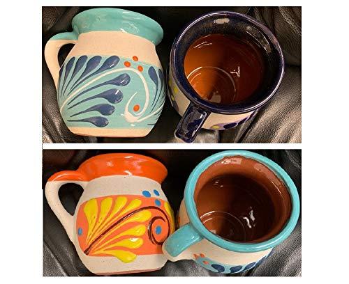 no!no! 4 Mexican Coffee Mugs Jarritos Mexicanos Flower Design Tazas de Barro Micnocana Ponchero Hot Chocolate Champurrado Tepache Pulque Traditional Clay Party Dish China Made in Mexico