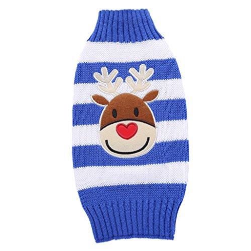 MonkeyJack Christmas Dog Winter Sweater Warm Coat Stripe Shirt Woven Knit Deer Clothes, EU Fashion - Blue Stripe-XL, -