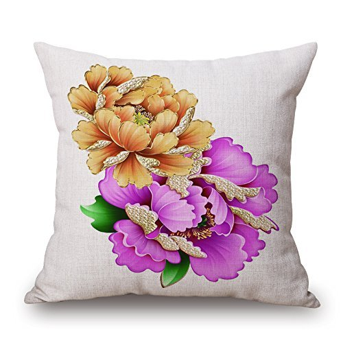 sunmoohat Retro Vintage Colorful Flower Gilt-Edged Peony Home Decorative Design Throw Pillow Cover Pillow Case 18 x 18 Inch Cotton Linen for Sofa Golden-Edge Pattern 4 ()