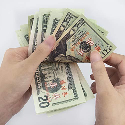 Winkeyes 100pcs Prop Money 20 Dollar Bills Play Money Realistic Copy Paper  Money Full Print 2 Sided for Movie Game Kids School Students
