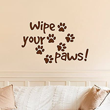 260f04a13 Wipe Your Paws Wall Decal Quote Dog Paw Print- Dog Quote Wall Decal- Dog  Lovers Wall Art Pet Store Grooming Vinyl Lettering Home Decor   Amazon.co.uk  ...