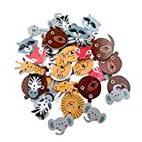 Wooden Cute Colorful Animals Shaped Head Buttons for Sewing DIY Home Textile Craft Scrapbooking 20mm 50Pcs