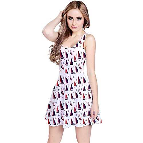 CowCow Purple Pattern with Nautical Elements Sleeveless Dress