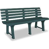 vidaXL Garden Bench Plastic Weather Resistant Slatted Design Outdoor 2-Seater Lounge Seat Deck Chair 145,5cm Patio…
