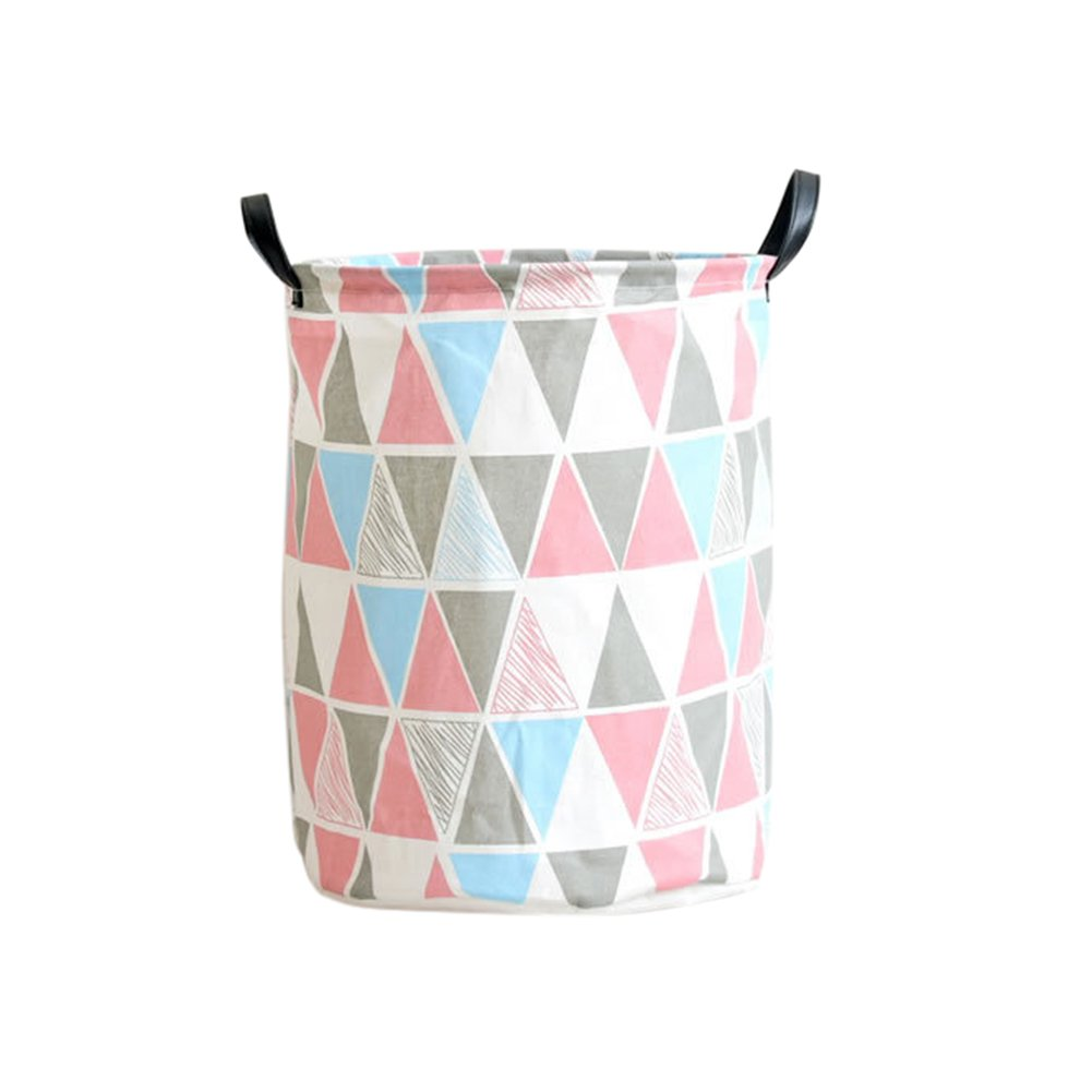 17.7''x13.8'' Home Laundry Hamper Basket Waterproof College Dormitory Dirty Clothes Organizer (Pink)