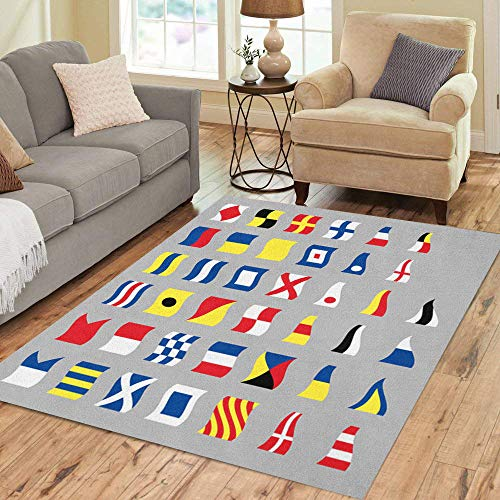 Pinbeam Area Rug Navy International Maritime Signal Nautical Waving Flags Gray Home Decor Floor Rug 5' x 7' Carpet