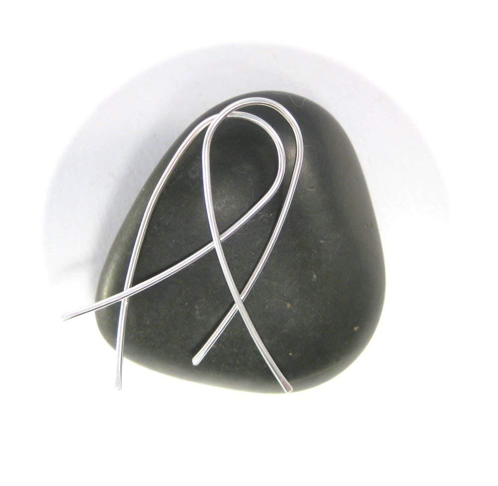 Thread Through Hoops Wishbone Shaped Silver Threader Dangle Earrings