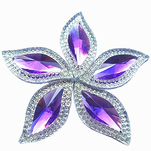 Rhinestones Leaf Shape with Silver Edge Gems Stones and Crystals Wedding Decoration Sew On for Stick-On Dance Costumes Shoes Bag Sewing Wedding Dress Accessory 15x30mm 60pcs 2 Holes (Purple)