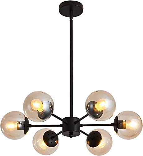 UOFUS 6-Light Chandelier Black with Clear Glass Globes Classic Mid Century Pendant Lighting Fixture Chandeliers for Living Room Bedroom Breakfast Room Farmhouse