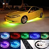 "ZHOL Sound Activated 7 Color LED Under Car Glow Underbody System Neon Lights Kit 36"" x 2 & 24"" x 2 with Wireless Remote Controller"