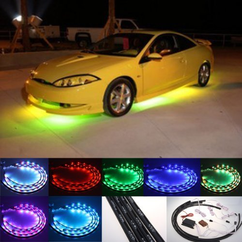 DIYAH 7 Color 4pcs LED Under Auto Car Underglow System Neon Lights Kit Strip With Wireless Remote Control 2 x 36