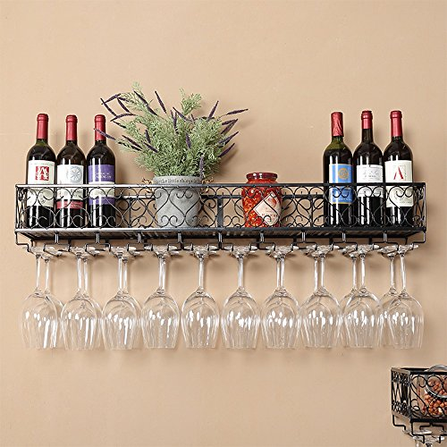 DDSS Wrought Iron Black/Bronze Hanging Wine Holder Holder 2 Color Cup Holder 2 Available Size /-/ (Color : Black, Size : - Cup Bronze Wine