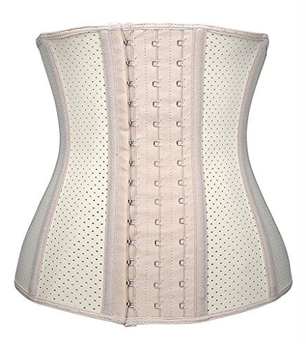 - YIANNA Women's Breathable Latex Waist Training Corset Fat Burning Workout Waist Trainer Hourglass Body Shaper, YA11533-Skin-3XL