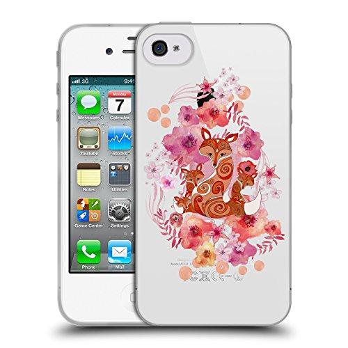 Officiel Monika Strigel Famille De Renard Animaux Et Fleurs 2 Étui Coque en Gel molle pour Apple iPhone 4 / 4S