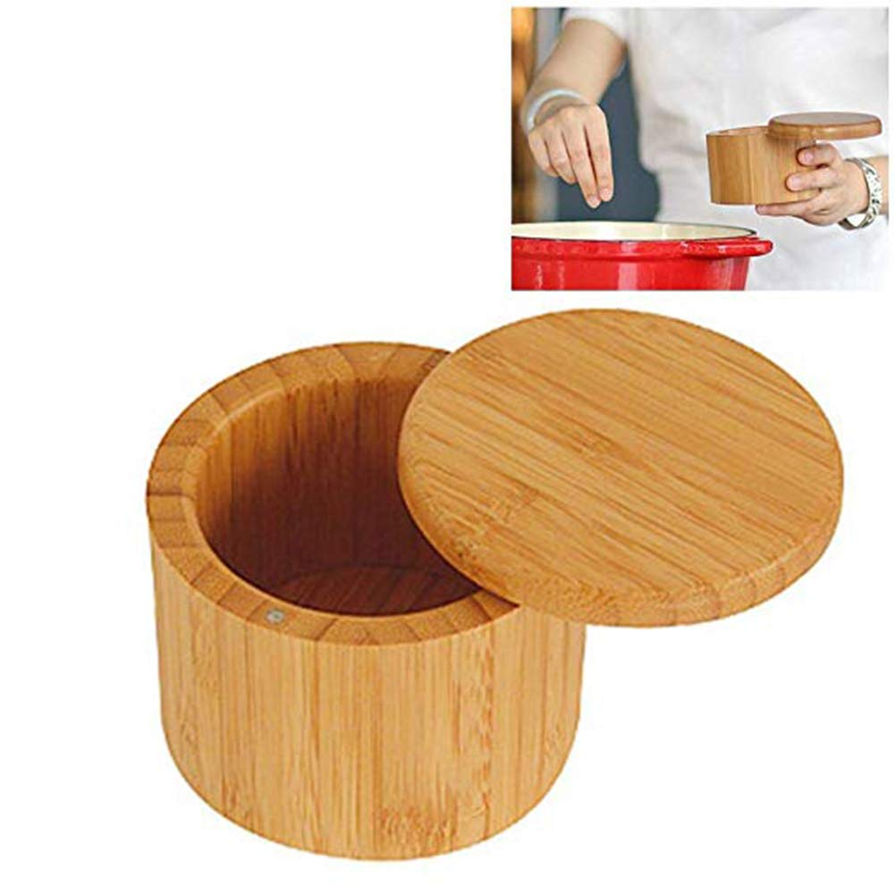 Salt /& Pepper Spice Box with Magnetic Closure,Round Bamboo Wood Spices Storage,Kitchen Storage Case,Environmentally Friendly,Spice Jar Bamboo salt Container Lid