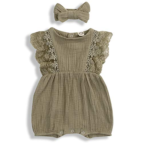 KCSLLCA Baby Girls Lace Romper Set Ruffle Sleeve Solid Color Onesie with Headband (Khaki, 0-6 Months)