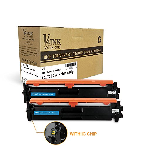 2 Pack Compatible Replacement - V4INK 2 Packs Compatible Replacement for HP 17A CF217A Toner Cartridge With Chip - for use in HP LaserJet Pro M102w, LaserJet Pro MFP M130fn, M130fw, M130nw, M130a Printers