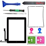Prokit Adhesive Black Ipad 4 Digitizer Touch Screen Front Glass Assembly - Includes Home Button + Camera Holder + Frame Bezel + Preinstalled Adhesive + Cleaning Kit with Slypry Premium Tool Kit