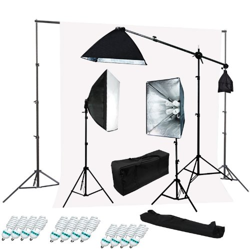 CanadianStudio 2400 Watt Digital Video photography portrait Continuous light Softbox Lighting Kit and Boom Set with High Key Muslin White Screen Backdrop stand kit - FREE SHIPPING FROM CANADA