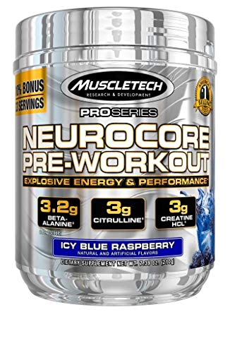 MuscleTech Neurocore Pre Workout Powder with Creatine, Beta-Alanine, & Citrulline, Icy Blue Raspberry, 30 Servings (255g)