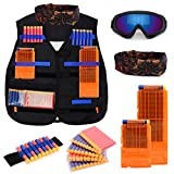 Forliver Kids Tactical Vest Kit, Kids Elite Tactical Vest Kit For Nerf N-strike Elite Series with 50 Refill Darts + 2 Reload Clips + Face Tube Mask + Protective Glasses