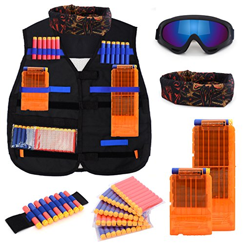 Kids Tactical Vest Kit for Nerf N-strike Elite Series with 50 Bullets Refill Darts + 2 Reload Clips + Face Tube Mask + Protective Glasses + hand wrist band -