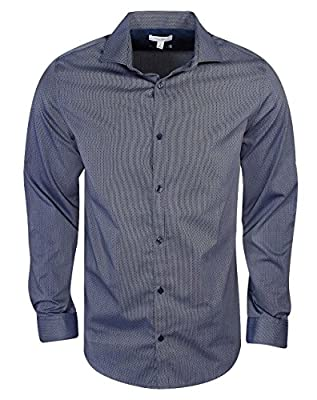 Calvin Klein Long Sleeve Infinite Cool Non-Iron Dobby Mini Dot Woven Shirt
