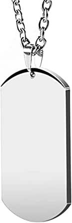 HZMAN Mens High Polishing Stainless Steel Dog Tag Pendant Necklace 22+2 Inch Link Chain