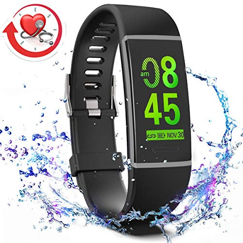 MorePro X-Core Fitness Tracker HR, Waterproof Color Screen Activity Tracker with Heart Rate Blood Pressure Monitor, Smart Wristband Pedometer Watch with Step Calories Counter, Black ()